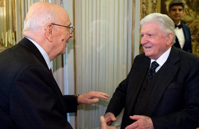 Sergio Zavoli con l'ex presidente della Repubblica, Giorgio Napolitano
