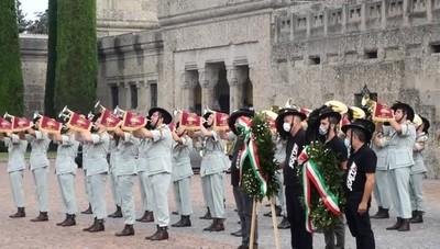 Commemorazione per i bergamaschi morti di covid al cimitero monumentale di  Bergamo