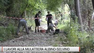 Albino, i lavori alla mulattiera che porta a Selvino e Aviatico