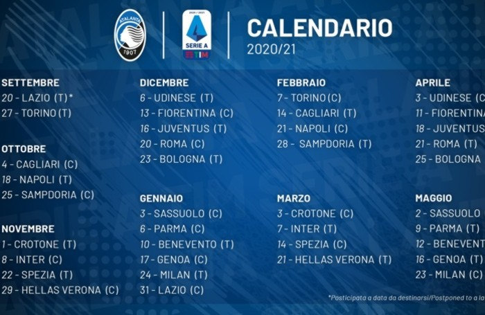Atalanta Debutto Il 27 Settembre Col Toro Serie A Il 16 Dicembre La Sfida Con La Juve Sport Bergamo