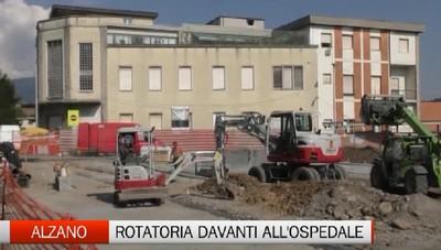 Alzano Lombardo, lavori in corso per rotatoria davanti all'ospedale