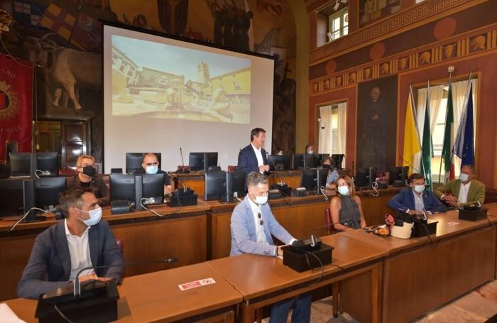 Nell'aula consigliare del comune di Bergamo il trio medusa Cristina Parodi e Faso con Elio delle storie tese annunciano il progetto con il Cesvi a Bergamo, 15 Settembre 2020 Tiziano Manzoni /ANSA