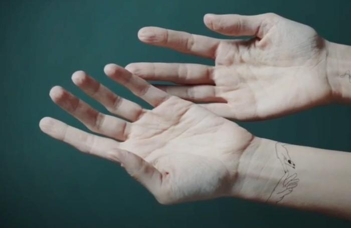 Le mani di Elisa, foto del video Hallelujah. In alto Elisa nella foto tratta dal video Libertà e Menzogna