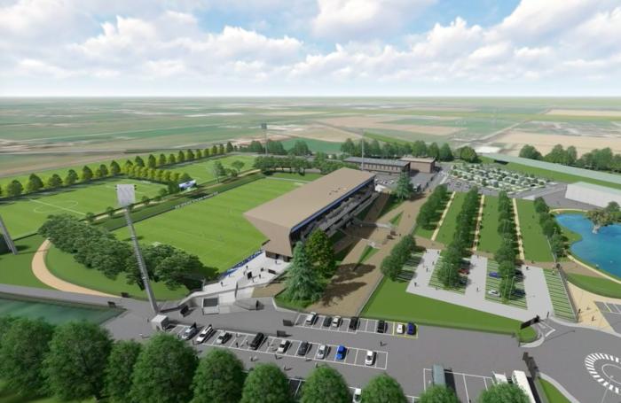 Il rendering dello stadio e dell'area del progetto Campus