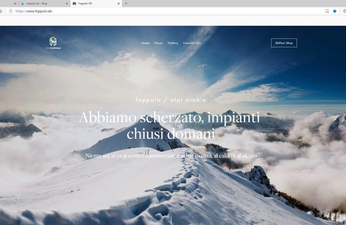 La homepage di foppolo.ski