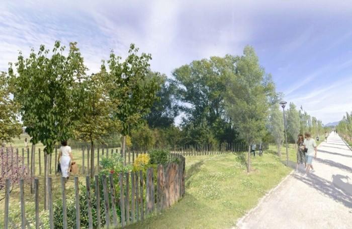 Rendering tratto dal progetto per il Bosco della memoria al parco della Trucca