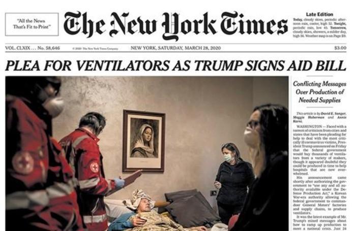 La prima pagina del «New York Times» del 28 marzo 2020