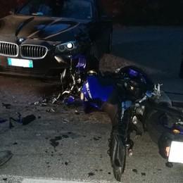 Castelli Calepio, auto contro moto -Foto Grave 54enne, in ospedale con l'elicottero