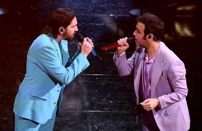 Italian singers Colapesce and Dimartino perform on stage at the Ariston theatre during the 71st Sanremo Italian Song Festival, Sanremo, Italy, 02 March 2021. The festival runs from 02 to 06 March. ANSA/ETTORE FERRARI