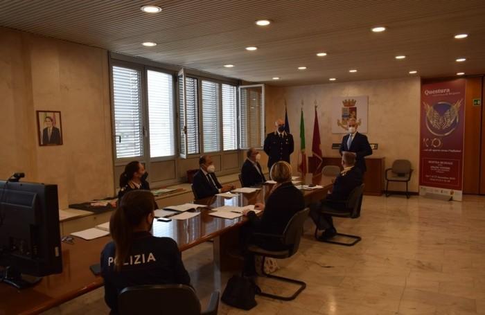 Il Questore di Bergamo, Maurizio Auriemma, e i dirigenti dell'Ufficio di Polizia