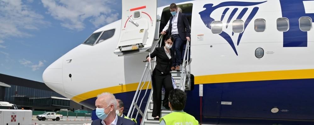 A Orio il nuovo aereo di Ryanair: meno inquinante e più silenzioso
