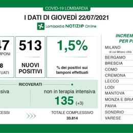 Covid, in Lombardia 513 nuovi positivi con 33 mila tamponi. A Bergamo 17 casi