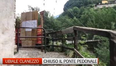 Ubiale Clanezzo: chiuso il ponte pedonale sul Brembo