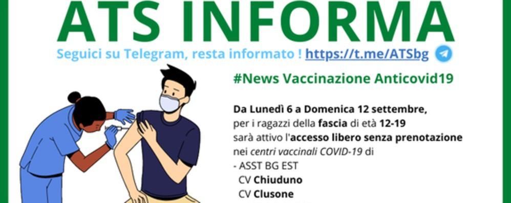 Covid, accesso libero ai vaccini per i ragazzi di età 12-19 anni